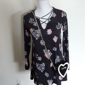 NWT Socialite long sleeve floral suede strap dress